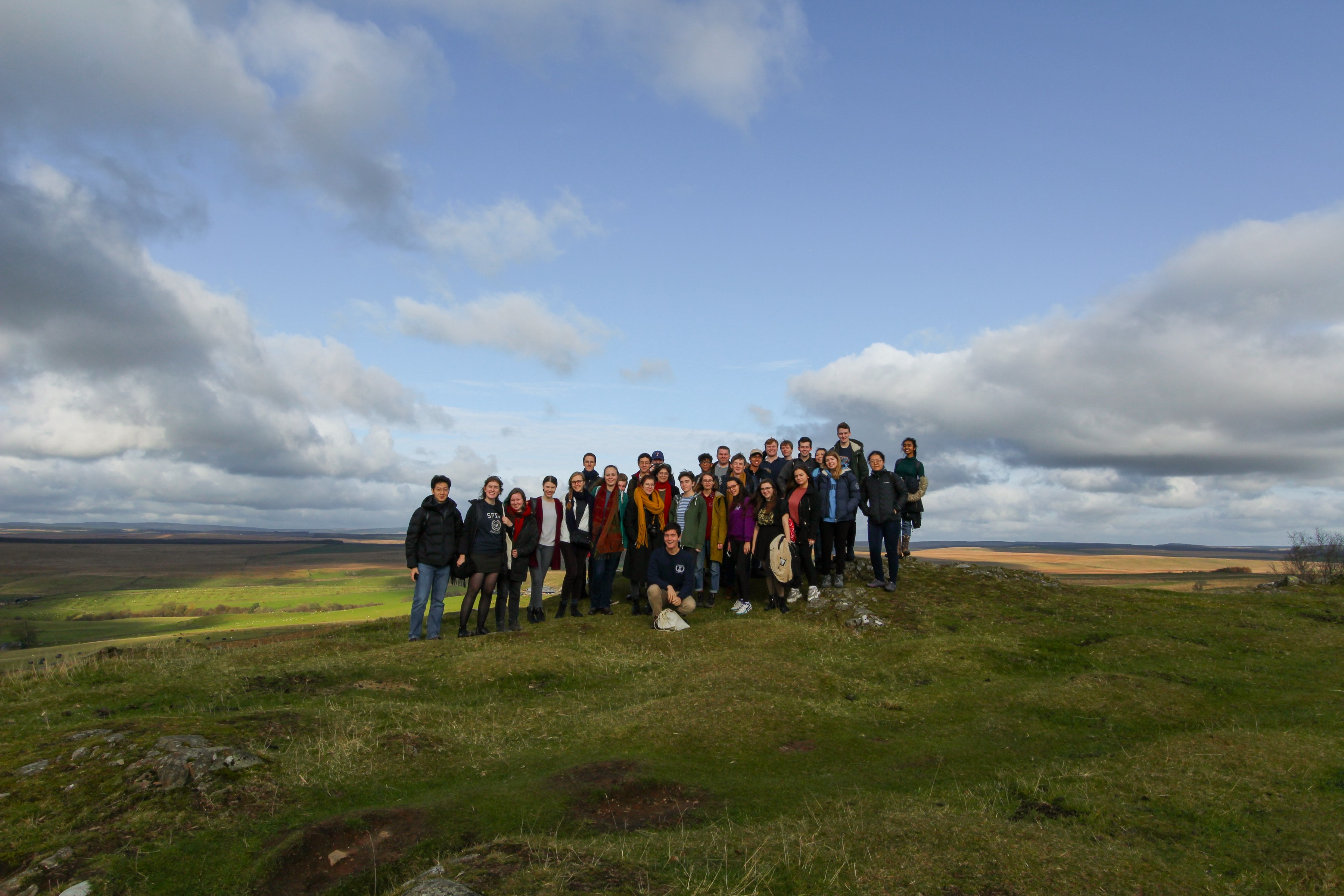 Group photo of the Classics Society at Hadrian's Wall