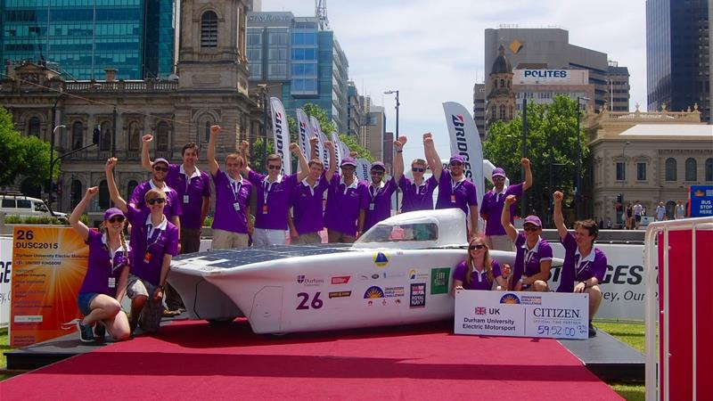 Durham University Electric Motorsport team with solar car