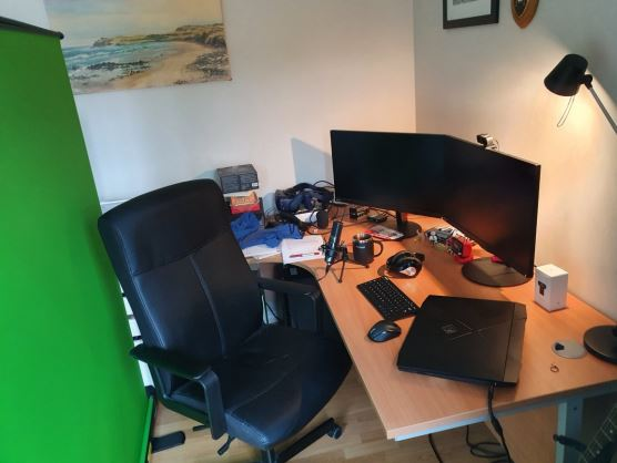 Desk chair and home working computer setup