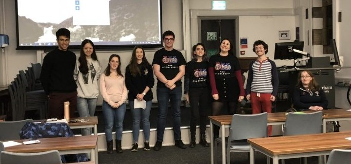A group of students standing in the NUS elections