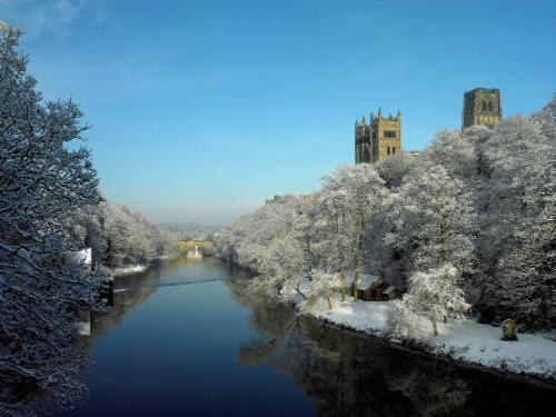 Durham Cathedral on the River Wear in winter