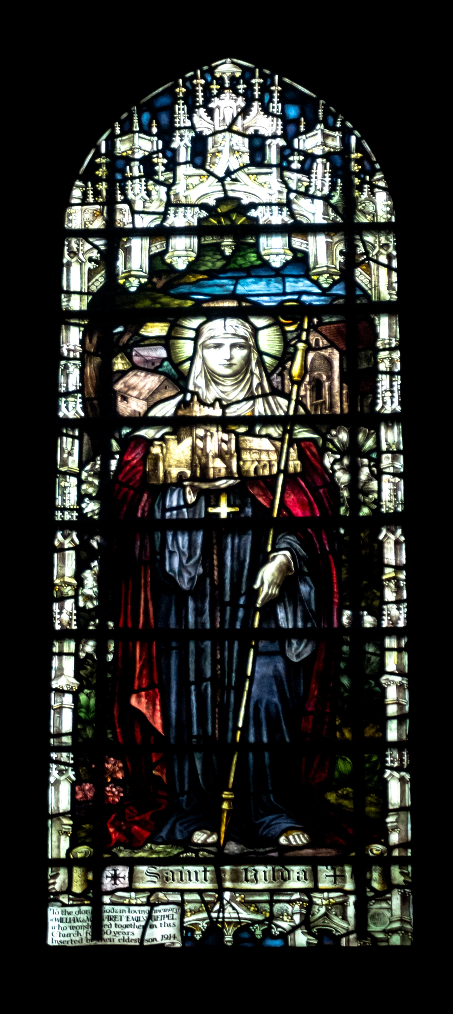 Stained glass window of St Hilda