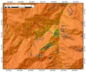 Radar coherence map of central Nepal